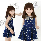 Girls Baby Chiffon Dressy Dress Swan Print Sundress Braces Skirt Summer Top 2-6Y