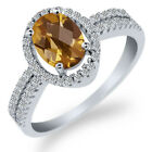 1.91 Ct Oval Checkerboard Champagne Quartz 925 Sterling Silver Ring