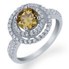 1.76 Ct Round Whiskey Quartz 925 Sterling Silver Ring