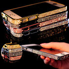 BLING DIAMOND CRYSTAL ALUMINUM METAL BUMPER COVER CASE FOR APPLE IPHONE 4G 5G UK