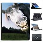 Grey Horses Face Folio Wallet Leather Case For iPad 2, 3 & 4