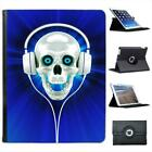 Raving Skull With Headphones In Blue Folio Wallet Leather Case For iPad 2, 3 & 4