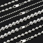 925 Sterling Silver Solid Ball Oval Facetted Necklace Chain 45/50/55/60/70cm NR