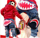 New Kids Jeans 2-7Years Boys Pants Clothing Big Shark Teeth Jeans PB063