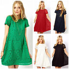 Womens Hollow Lace Crochet Short Sleeve Floral Party Mini Swing Dress Shirt Tops