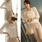 Lady Women Sexy Embroidered Lace Long Sleeve Chiffon Casual Tops Blouse T-Shirt