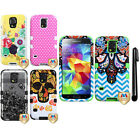 For Samsung Galaxy S5 G900 Tuff HYBRID HARD Case SILICONE Phone Cover + Pen