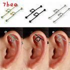 Pair Stainless Steel Long Industrial Heart Barbell Bar Ear Stud Earring Piercing