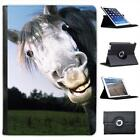 Grey Horses Face Folio Wallet Leather Case For iPad Air & Air 2