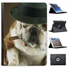 Bull Dog With Bowler Hat & Cigar Folio Wallet Leather Case For iPad Air & Air 2