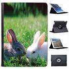 Grey & White Rabbits On Grass Folio Wallet Leather Case For iPad Air & Air 2