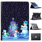 Snowman Family Decorating Xmas Tree Folio Leather Case For iPad Air & Air 2