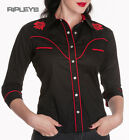 HELL BUNNY 50s Shirt WESTERN Black/Red Roses & Skull All Sizes