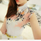 97k Organza Embroidered Flowers Lapel Single-breasted Sleeveless Shirt