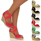WOMENS SHOES LADIES SANDALS HESSIAN ESPADRILLE HEELS MID SUMMER NEW SIZE ELASTIC