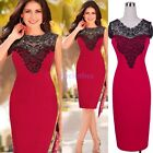 Summer Female Crochet Lace Cocktail Wear To Work Bodycon Shift Pencil Dress D781
