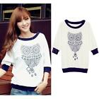 Fashion Women Owl Pattern Half 3/4 Batwing Sleeve T-Shirt Crew Neck Blouse Tops