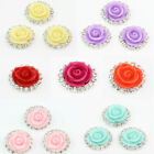 Hot Selling 10Pcs Flatback Rhinestone Edge Plastic Rose Buttons Fit Sewing 16mm