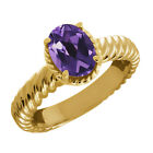 1.66 Ct Oval Purple Amethyst 14K Yellow Gold Ring