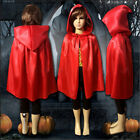 Kids Gift Halloween Hooded Cape Medieval Party Cloak Coat Shawl Cosplay 3colors