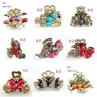 t62zz27 Rhinestone Crystal Butterfly Peacock Hair Crab Clamp Claws Clip Hairpin