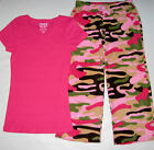 New Junior Girls Size L Camouflage Pajamas by Free Play Sleepwear Sets Pjs
