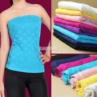 New Women Strapless Lace Tube Top Bandeau Stretch Ribbed Tank Camisole