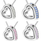 Fashion Double Heart Crystal Rhinestone Eternal Love Silver Necklace Cheap