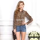 Women Leopard Animal Printed Chiffon Blouse Tops Long Sleeve Stand Collar Shirt