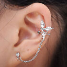 Gothic Rock Chic Cartilage Ear Cuff Clip-on Angel Dangle Chain Earring Stud Gift