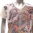 w32 M L XL Japanese Irezumi Tattoo VNECK T-shirt Dragon RYU Reaper God Heaven