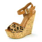 Womens Platform Wedge Shoes Strappy Cork High Heels Ankle Strap Sandals Peep Toe