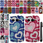 For Kyocera Hydro C5170 DIAMOND BLING CRYSTAL HARD Case Phone Cover + Pen