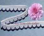 "10/20 Yds White Navy Lace Trim 5/8"" Crocheted N21DV Buy More-Ship No Charge"