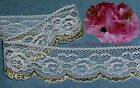 """12/24 Yds Gold Lace Trim 1-1/4"""" Scalloped Roses M87V Buy More-Ship No Charge"""