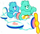 """6-9.5"""" CARE BEARS BEDTIME & WISH BEAR  AIRPLANE WALL SAFE STICKER BORDER CUT OUT"""