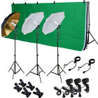 Photo Studio Photography Kit W 3 Light Bulb Lighting Muslin 3 Backdrop Stand Set