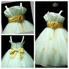 818 Gold White Princess Wedding Dance Party Flower Girls Dresses AGE 1 to 12Year