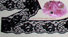 """10/20 Yards Black Lace Trim 1-1/4"""" Delicate Floral P13V Buy More-Ship No Charge"""