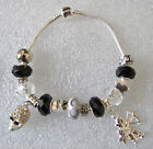 Black & White European Charm Bracelet with Skull + Zodiac Sign of your Choice