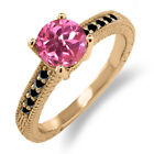 1.72 Ct Round Pink Mystic Topaz Black Diamond 925 Rose Gold Plated Silver Ring