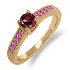 0.82 Ct Round Red Rhodolite Garnet Pink Sapphire 18K Rose Gold Engagement Ring