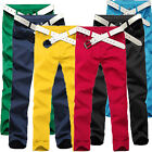 Mens Casual Slim Fit Stretchy Candy Pencil Pants Casual Skinny Jeans Trousers