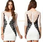 Women Summer Formal Lace Tops Tunic Colorblock Cocktail Party Bodycon Dress D815