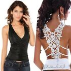 Sexy Women Halter Goth Crochet Backless Top Sleeveless Blouse Shirt Summer Punk