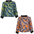 NEW WOMENS PRINTED LADIES SUMMER PARTY NEON LONG SLEEVE PULL OVER TOP SIZE 8-14