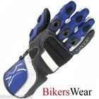 Spada Axis Black / Blue Leather Sports Motorcycle Gloves Size S -2XL