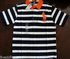 NWT Ralph Lauren Boys S/S Striped Mesh Big Pony Rugby Shirt Sz 18/20 NEW $55