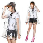 Transparent PVC Vinyl Raincoat Runway Style Womens Girls Clear Mac Rain Coat NEW
