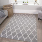 Grey Modern Trelis Pattern Area Carpet Mat Soft Cheap Non Shed Small Large Rugs